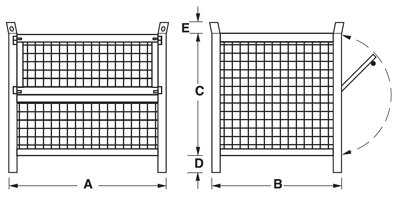Dimensioni contenitore in rete metallica alto con piedi scatolati e porta