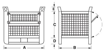 Dimensioni contenitore in rete metallica pesante con slitte lato lungo e porta
