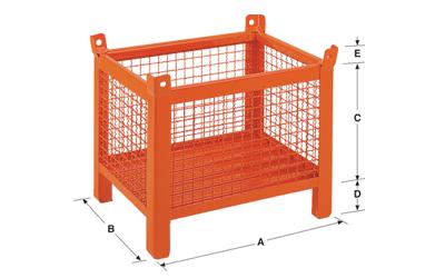 Dimensioni contenitore in rete metallica piccolo con piedi scatolati