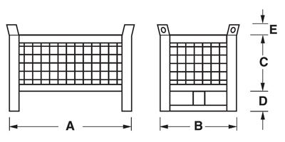 Dimensioni contenitore in rete metallica piccolo con slitte lato corto