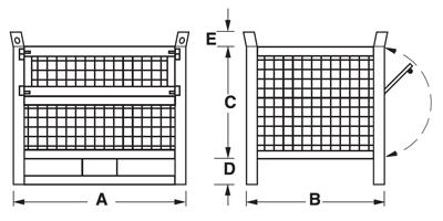 Dimensioni contenitore in rete metallica con slitte lato lungo e porta