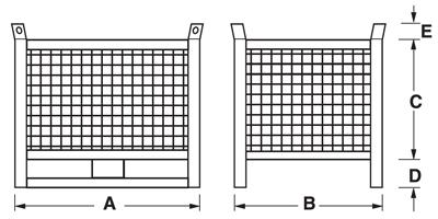 Dimensioni contenitore in rete metallica con slitte lato lungo