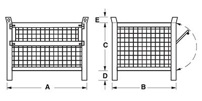 Dimensioni contenitore in rete metallica basso con piedi scatolati e porta