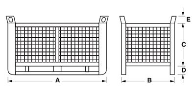 Dimensioni contenitore in rete metallica pesante con slitte lato lungo gran volume