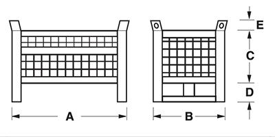 Dimensioni contenitore in rete metallica piccolo con slitte lato corto e parete 3/4