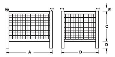 Dimensioni contenitore in rete metallica con piedi scatolati