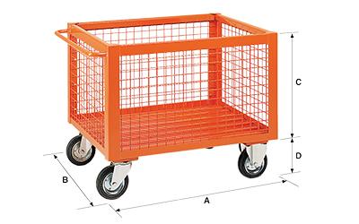 Dimensioni contenitore in rete metallica con ruote