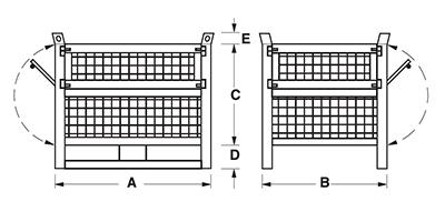 Dimensioni contenitore in rete metallica con slitte lato lungo e 2 porte