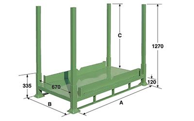 Dimensioni pallet in lamiera con montanti sfilabili