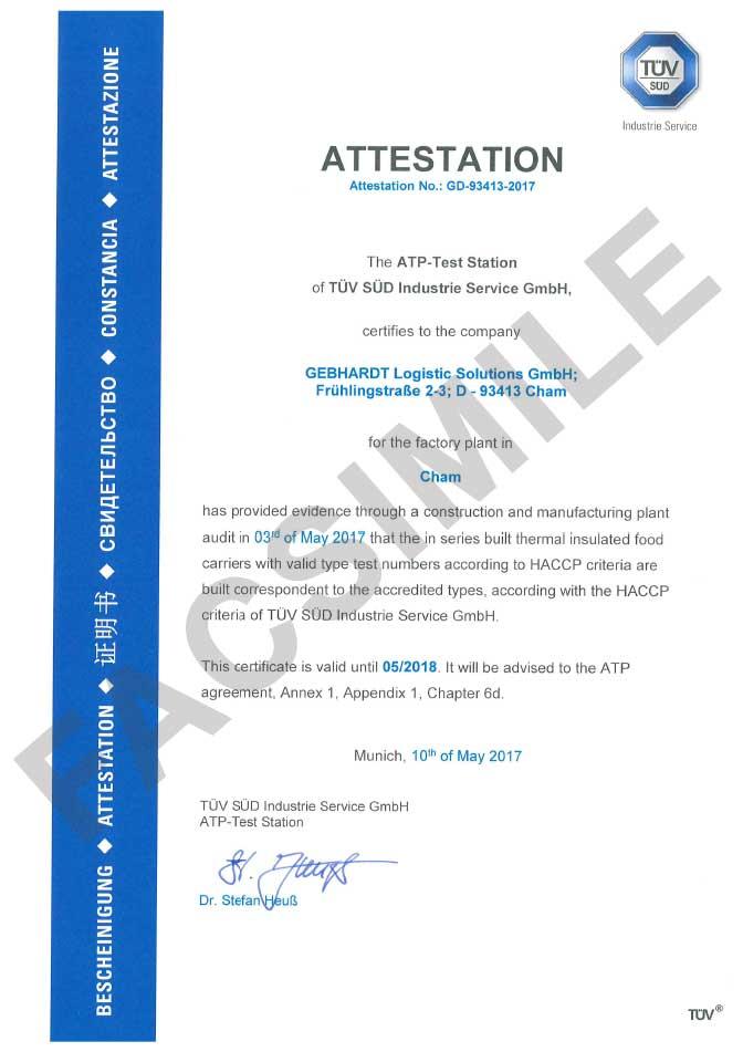 Attestato HACCP contenitori isotermici per alimenti