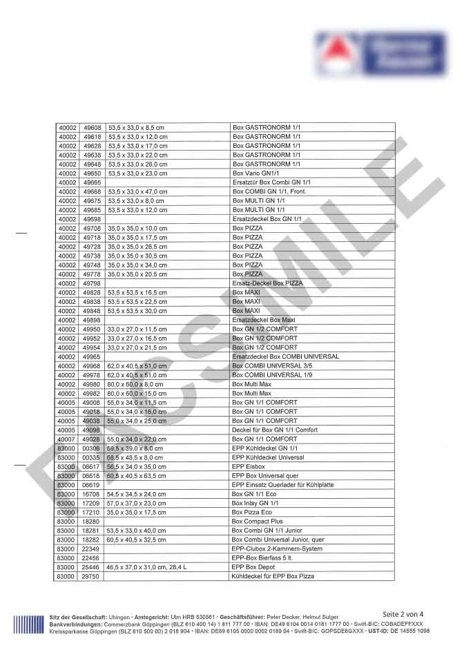 Certificato idoneità contatto diretto con gli alimenti pagina 2
