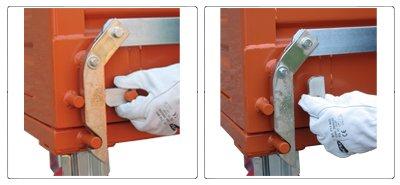 Dettagli contenitore a fondo apribile con fondello unico e ruote portata 1350 kg sistema di blocco