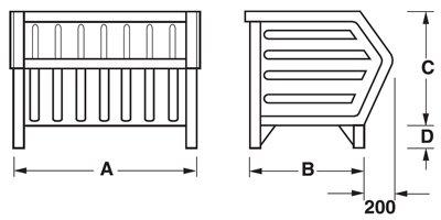 Dimensioni contenitore a bocca di lupo con piedi scatolati triangolari