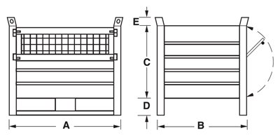 Dimensioni contenitore in lamiera con slitte lato lungo e porta in rete