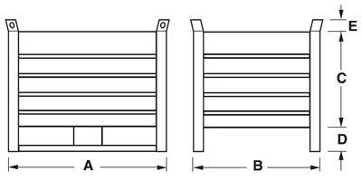 Dimensioni contenitore in lamiera con slitte lato lungo