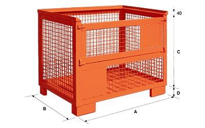 Dimensioni contenitore in rete metallica pesante sovrapponibile al gitterbox