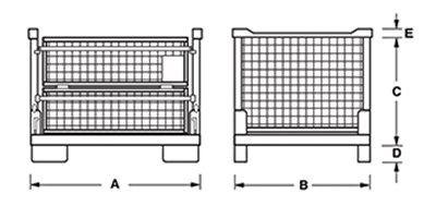 Dimensioni contenitore in rete metallica pieghevole e sovrapponibile con porta