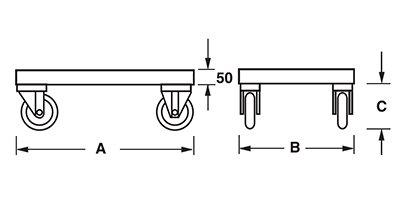 Dimensioni telaio con ruote per movimentazione contenitori metallici industriali